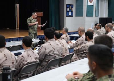 191021-N-KZ419-1055 NAVAL SUPPORT ACTIVITY BAHRAIN, Bahrain (Oct. 21, 2019) Rear Adm. Doug Beal, vice commander of U.S. 5th Fleet, U.S. Naval Forces Central Command and Combined Maritime Forces, speaks during the opening ceremony of International Maritime Exercise (IMX) 2019. IMX 2019 is a multinational engagement involving partners and allies from around the world sharing knowledge and experiences across the full spectrum of defensive maritime operations. The exercise serves to demonstrate global resolve in maintaining regional security and stability, freedom of navigation and the free flow of commerce from the Suez Canal south to the Bab-el-Mandeb through the Strait of Hormuz to the Northern Arabian Gulf. (U.S. Navy photo by Mass Communication Specialist 3rd Class Dawson Roth/Released)