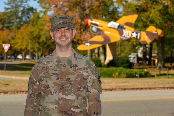 "Tech. Sgt. Brantley Price, Certification and Accreditation noncommissioned officer in charge of the Special Programs Division's Cybersecurity Branch, poses for a photo on Hanscom Air Force Base, Massachusetts, Oct. 21. Price was recently named one of the Air Force Association of Massachusetts' ""Top 5 Airmen"" of 2019. This is the fifth year the Massachusetts AFA has named the top five performers who best represent the Air Force mission throughout the Commonwealth."