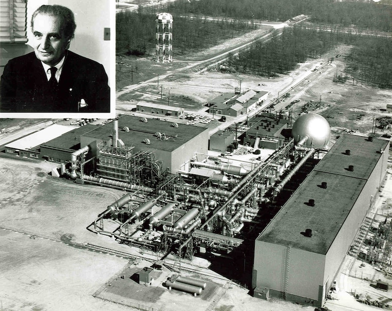 The Gas Dynamics Facility at Arnold Air Force Base was dedicated in honor of Dr. Theodore von Kármán on Oct. 30, 1959. Von Kármán helped provide the blueprint that led to the construction of Arnold Engineering Development Complex at Arnold AFB. (U.S. Air Force photo)