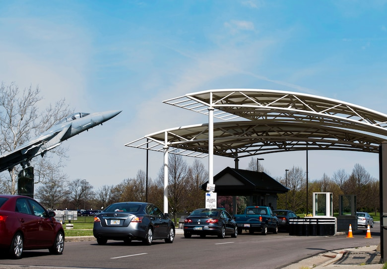 Traffic flows through Gate 12A onto Wright-Patterson Air Force Base.  Traffic may be slower due to the change to Health Protection Condition Bravo.