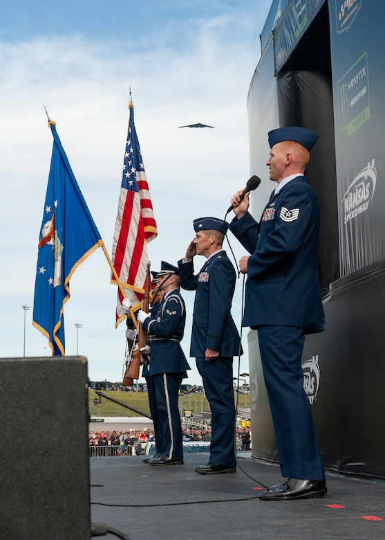 Team Whiteman Airmen supported the local community at Kansas City, Mo., Oct. 20, 2019, during the Kansas Speedway Hollywood Casino 400 Sprint Cup. Service members took time to greet and meet with local community members, performed the National Anthem and displayed the B-2 Spirit with a flyover during the opening ceremony. (U.S. Air Force photo by Senior Airman Thomas Barley)