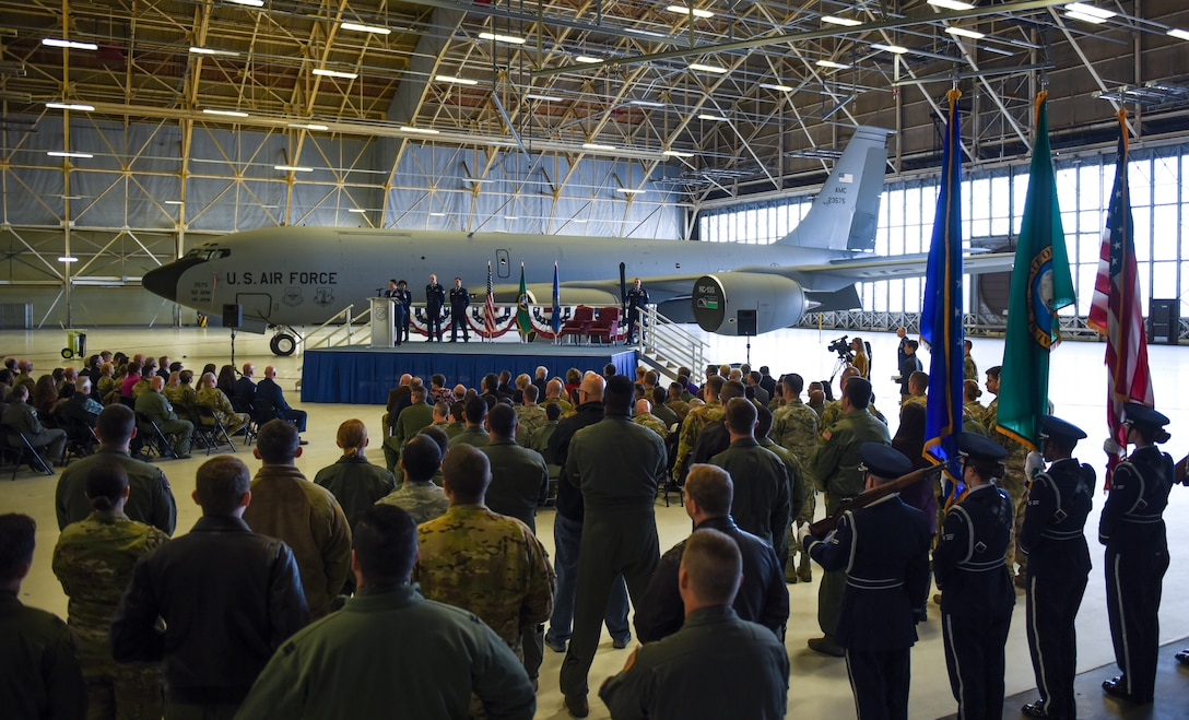 Members of Team Fairchild and the surrounding community gather for the 97th Air Refueling Squadron's reactivation ceremony and Assumption of Command at Fairchild Air Force Base, Washington Oct. 18, 2019.