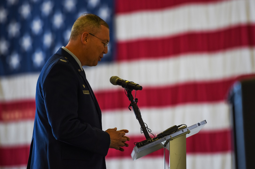 U.S. Air Force Col. Russel Davis, 92nd Operation Group commander, gives a speech at the 97th Air Refueling Squadron's reactivation ceremony and Assumption of Command at Fairchild Air Force Base, Washington Oct. 18, 2019.