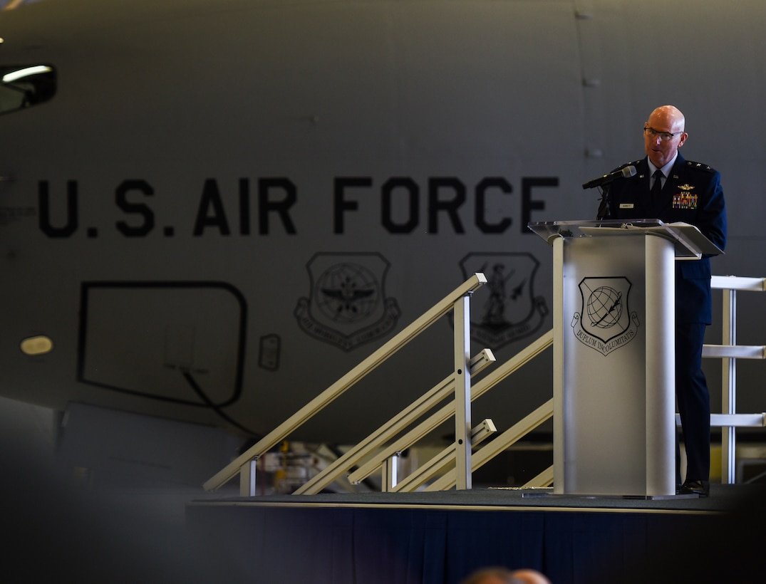 U.S. Air Force Maj. Gen. Sam Barrett, 18th Air Force commander, gives a speech during the 97th Air Refueling Squadron's reactivation ceremony and Assumption of Command at Fairchild Air Force Base, Washington Oct. 18, 2019.