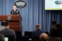 Lt. Gen. Thomas Horlander outlines the Army's fiscal 2017 budget during a briefing at the Pentagon on Feb. 9, 2016