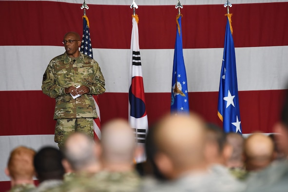 Gen. CQ Brown, Jr., Pacific Air Forces commander, details his priorities to the men and women of Team Osan during an all call at Osan Air Base, Republic of Korea, Oct. 17, 2019. While gaining an in-depth exposure of the installation's unique mission, Brown used the visit as an opportunity to explain PACAF's priorities and how vital Team Osan is in contributing to the Indo-Pacific region's security and stability. (U.S. Air Force photo by Staff Sgt. Benjamin Bugenig)