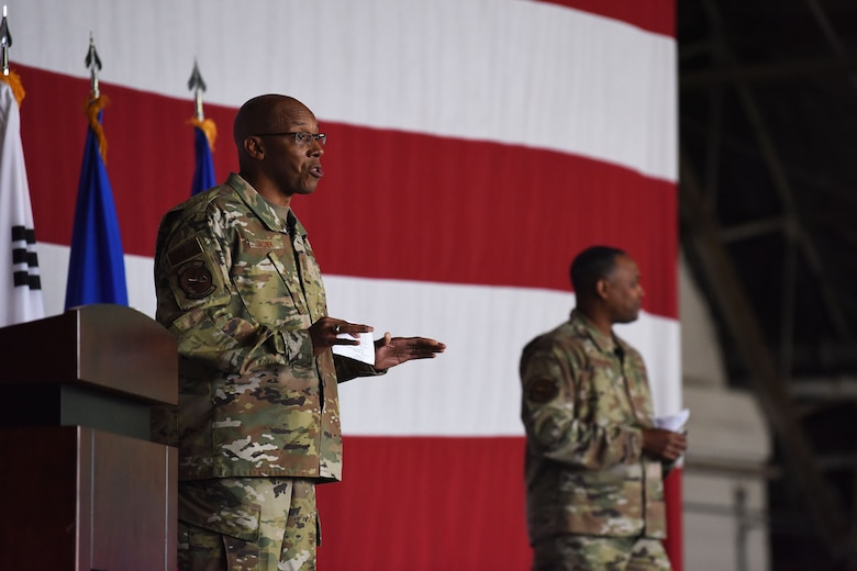 Gen. CQ Brown, Jr., Pacific Air Forces commander, and Chief Master Sgt. Anthony Johnson, PACAF command chief, brief the men and women of Team Osan during an all-call at Osan Air Base, Republic of Korea, Oct. 17, 2019. While gaining an in-depth exposure of the installation's unique mission, PACAF leadership used the visit as an opportunity to explain PACAF priorities and how vital Team Osan is in contributing to the Indo-Pacific region's security and stability. (U.S. Air Force photo by Staff Sgt. Benjamin Bugenig)