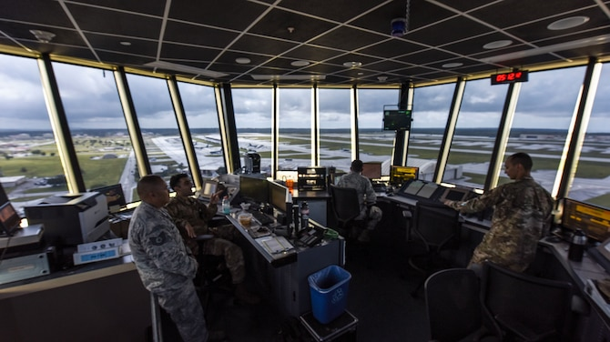 Andersen air traffic controllers monitor the local airspace from the air traffic control tower September 17, 2019, Andersen Air Force Base, Guam.