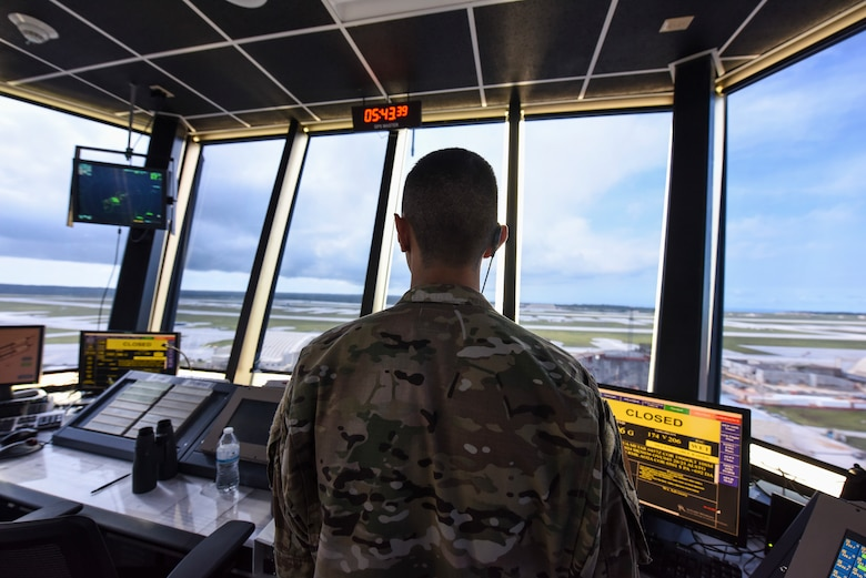 An Andersen air traffic controller monitor the local airspace from the air traffic control tower using a radar, September 17, 2019, Andersen Air Force Base, Guam.