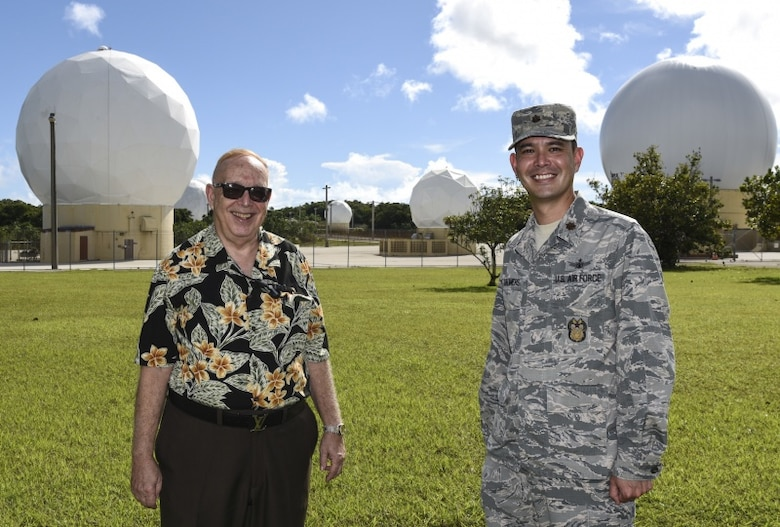 Joel E. Chalmers (left), Detachment 2, 21st Space Operations Squadron station manager and Major Joel N. Chalmers, 36th Wing Inspector General director of inspections, pose for a photo on Northwest Field, Andersen Air Force Base, Guam, Oct. 2, 2019.