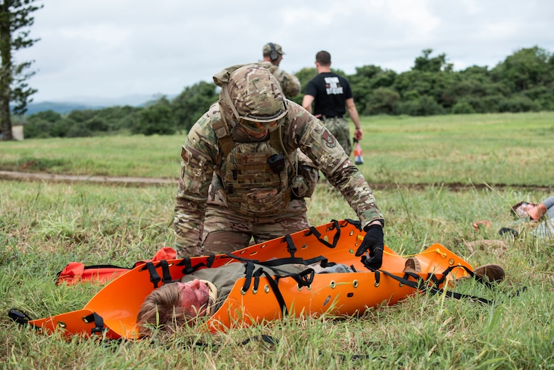 Capt. Jaime Stiffler, 36th Wing chaplain, practices emergency medical care and evacuation during Dragon Forge Sept. 9, 2019 on Andersen Air Force Base, Guam.