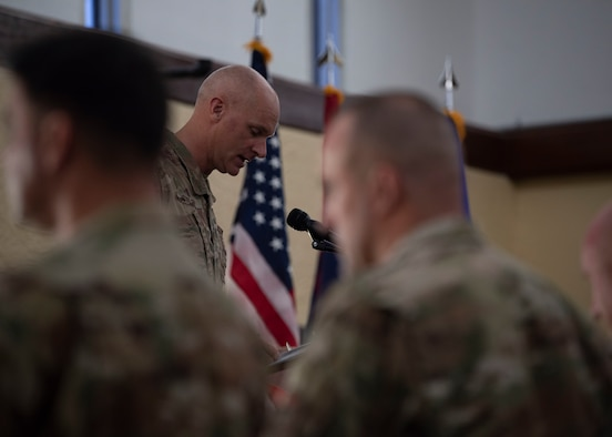 Capt. Jaime Stiffler, 36th Wing chaplain, gives the invocation during a ceremony Sept. 10, 2019 on Andersen Air Force Base, Guam.