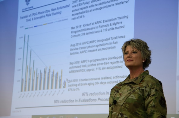 Col. Kelli B. Smiley, Headquarters Air Reserve Personnel Center commander, speaks during an Air Reserve Forces Policy Committee session Oct. 17, 2019, at HQ ARPC, Buckley Air Force Base, Colorado.