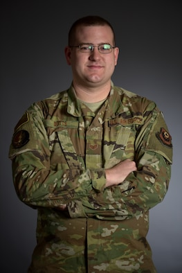 U.S. Air Force Staff Sgt. Alexander Butts, 352nd Special Operations Aircraft Maintenance MC-130J Commando II engine journeyman, poses for a photo at RAF Mildenhall, England, Oct. 17, 2019. Butts was recognized by 352d Special Operations Wing leadership for stepping in and preventing an individual in the local community from committing suicide. (U.S. Air Force photo by Airman 1st Class Brandon Esau)