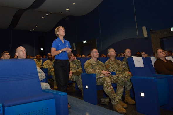 """Retired U.S. Air Force Col. Laurel """"Buff"""" Burkel, Air Force Wounded Warrior Program ambassador, speaks to the 86th Airlift Wing at Ramstein Air Base, Germany, Oct. 18, 2019."""