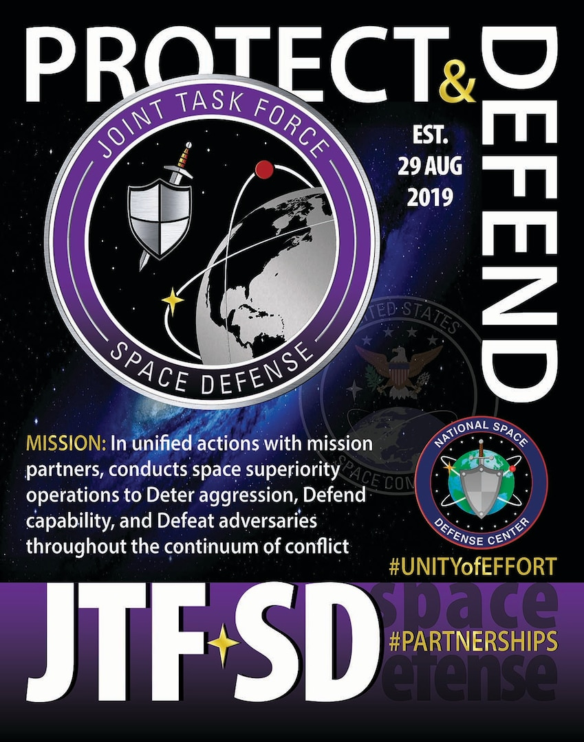 Joint Task Force Space Defense will execute its protect and defend mission through its operations center, the National Space Defense Center, space situational awareness units and emerging space defense units.
