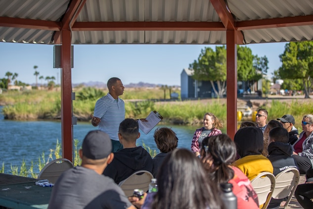 U.S. Marines and their families with Marine Corps Air Station Yuma participate in the Resiliency Retreat at Lake Martinez, Ariz., Oct. 11, 2019. The Resiliency Retreat is a weekend retreat intended to help friends and families grow closer by participating in educational classes, group discussion, and recreational activities while camping at Lake Martinez. (U.S. Marine Corps photo by Lance Cpl John Hall)