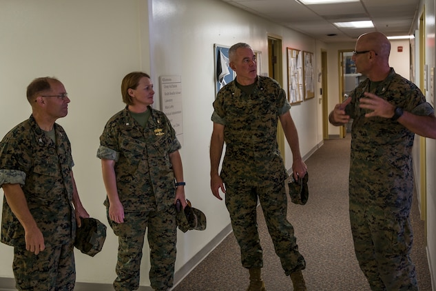 U.S. Marine Corps Brig. Gen. David B. Conley, the Marine Corps Installations - West (MCI-WEST) Commanding General visits Marine Corps Air Station (MCAS) Yuma, Ariz., Oct. 16, 2019. This is Brig. Gen. Conley's first visit to MCAS Yuma, during which he recieved a tour of the aircraft hangars, barracks, station facilities and met with Col. David A. Suggs, the commanding officer of MCAS Yuma. (U.S. Marine Corps photo by Sgt. Isaac D. Martinez)