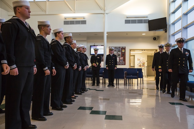 U.S. Navy Sailors assigned to the Branch Medical and Dental Clinic on Marine Corps Air Station (MCAS) Yuma conduct a uniform inspection at the medical clinic on MCAS Yuma, Ariz., Oct. 21, 2019. The purpose of the inspection was to check the Sailors' military appearance in uniform and attention to detail. (U.S. Marine Corps photo by Sgt. Isaac D. Martinez)