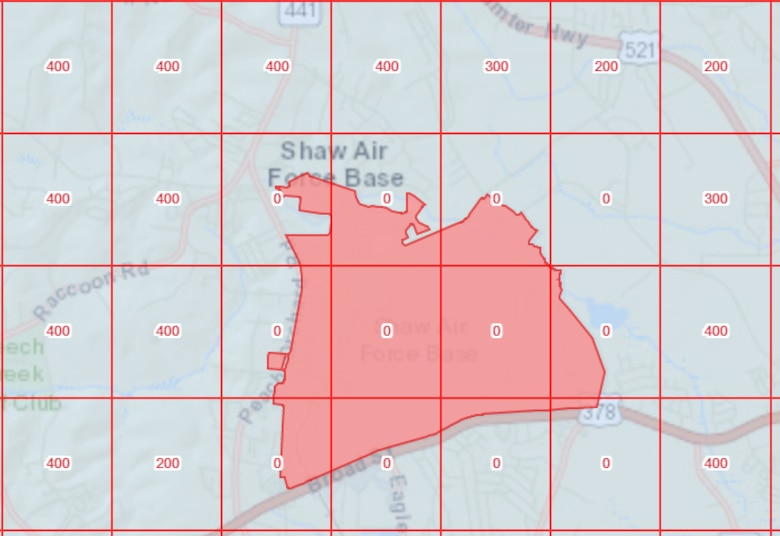 The Federal Aviation Administration's unmanned aircraft system (UAS) data map displays the restricted flying area around Shaw Air Force Base, South Carolina. UAS pilots should refer to the map, found at https://faa.maps.arcgis.com, to know maximum altitudes for flying and other safety information. (Courtesy illustration)