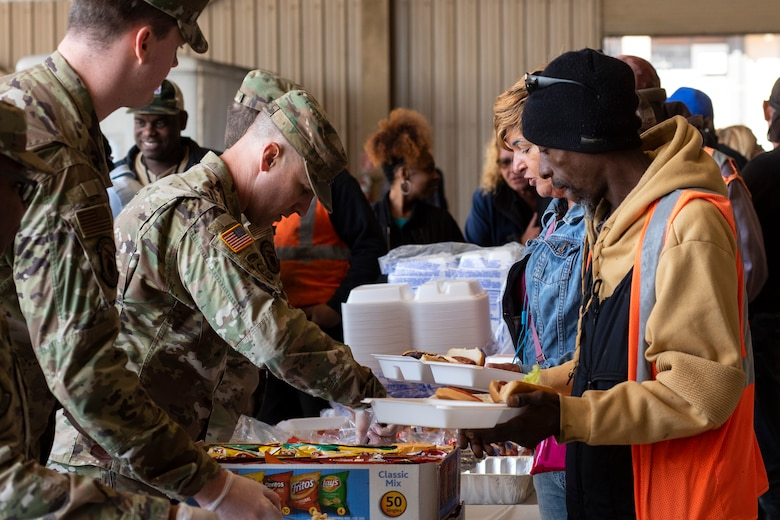 20th Contracting Squadron members serve lunch to AbilityOne employees at the 20th Annual AbilityOne picnic at Shaw Air Force Base (AFB), South Carolina, October 18, 2019.