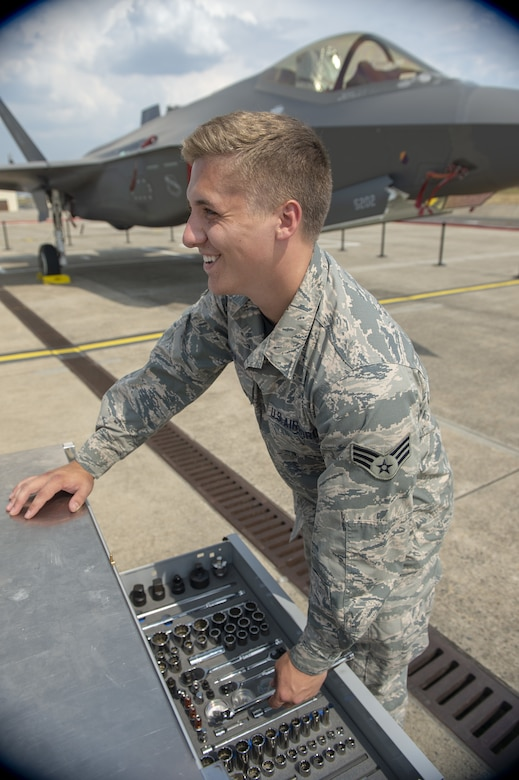 Senior Airman Colby Cook, an F-35A Lightning II crew chief assigned to the 419th Fighter Wing, on the flightline July 26, 2019, at Spangdahlem Air Base, Germany. Cook was deployed with his unit to participate in exercises and conduct training with other Europe-based aircraft as part of a Theater Security Package. (U.S. Air Force photo by Airman 1st Class Branden Rae)