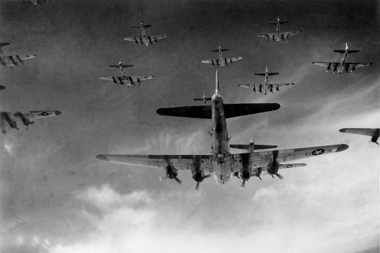 Formation of aircraft fly in the sky.