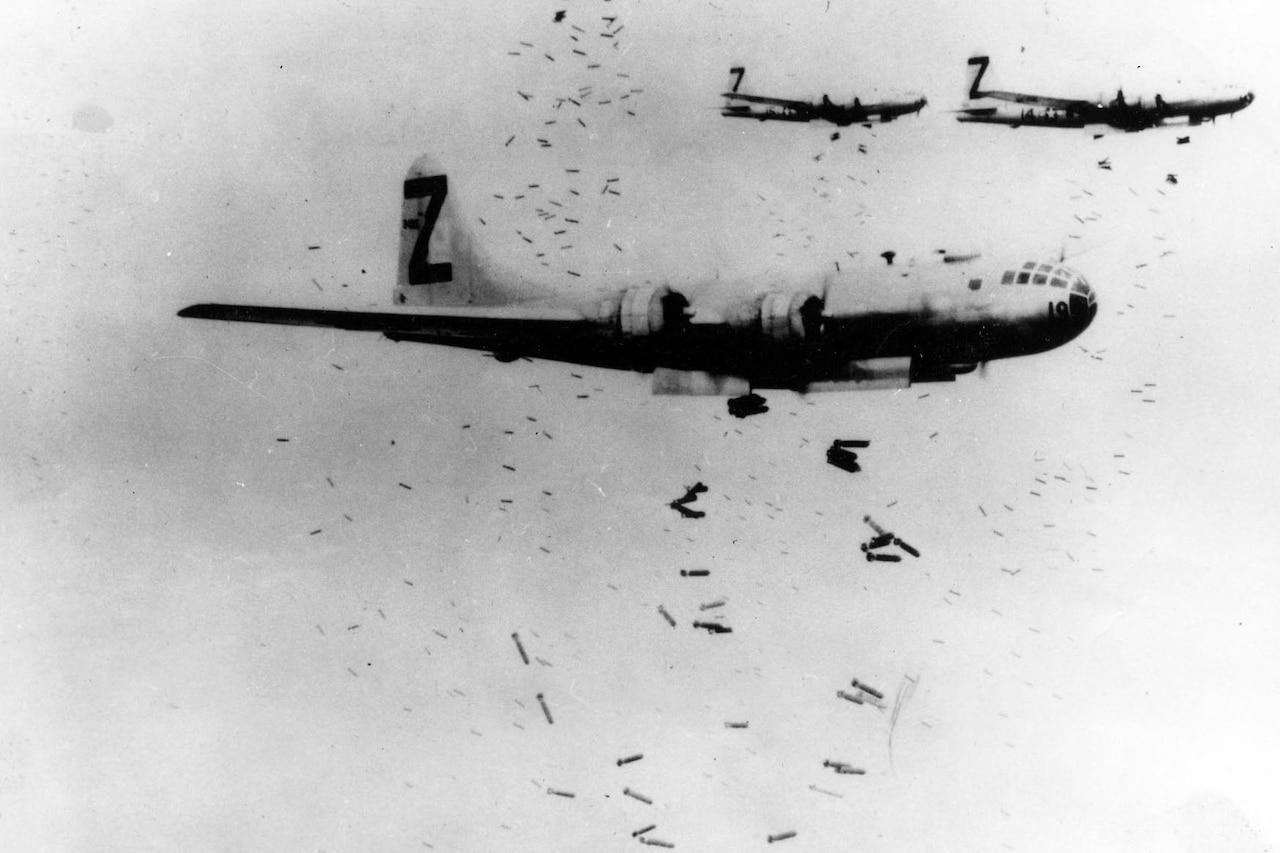Aircraft drop bombs.
