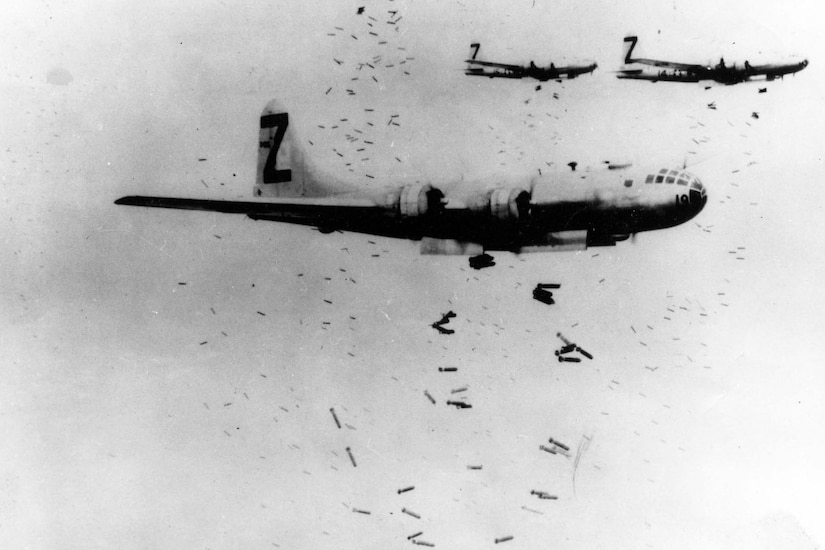 Aircraft drop bombs.