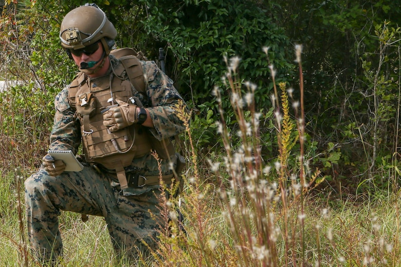 U.S. Marines with Weapons Company, Battalion Landing Team, 2nd Battalion, 8th Marine Regiment, 26th Marine Expeditionary Unit , provide security during a Tactical Recovery of Aircraft and Personnel mission as part of Composite Training Unit Exercise  in the vicinity of Camp Lejeune, N.C., Oct. 19, 2019. Bataan is underway conducting a COMPTUEX with the Bataan Amphibious Ready Group and 26th MEU. (U.S. Marine Corps photo by Lance Cpl. Gary Jayne III)