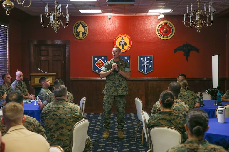 U.S. Marine Corps Maj. Gen. Stephen Neary, the commanding general of 2nd Marine Expeditionary Brigade, gives a speech during the Maritime Preposition Force Staff Planning Course at Camp Lejeune, N.C., Oct. 11, 2019. This was an annual training course intended to help align II Marine Expeditionary Force and 2nd Marine Expeditionary Brigade with the Commandant's Planning Guidance. (U.S. Marine Corps photo by Cpl. Stephen Campbell)
