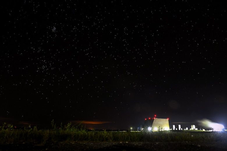 The 10th Space Warning Squadron operates the Perimeter Acquisition Radar Attack Characterization System Sept. 27, 2019, on Cavalier Air Force Station, North Dakota. The PARCS watches space 24/7, and is used for missile warning and space surveillance. (U.S. Air Force photo by Airman 1st Class Andrew Bertain)