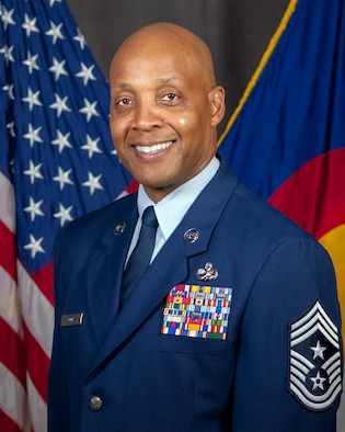 Official photo of Command Chief Master Sgt. Anthony T. Cook, the State Command Chief for the Colorado Air National Guard.