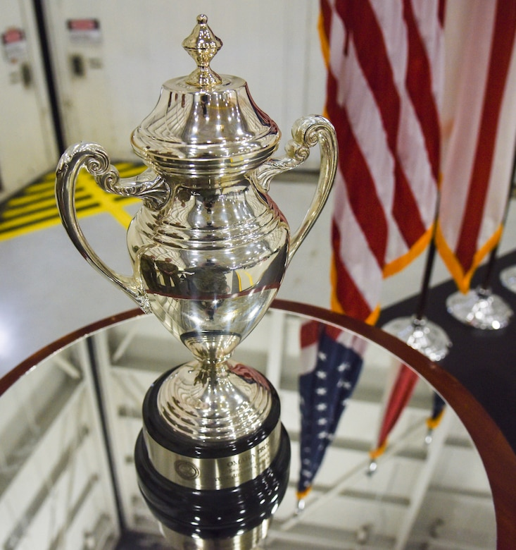 The Omaha Trophy was awarded to the 117 Air Refueling Wing at Sumpter Smith Air National Guard Base, AL., Oct. 19, 2019.  The unit won the award in the strategic aircraft category and was the first Air National Guard tanker unit to win the award.  (U.S. Air National Guard photo by Master Sgt. Jeremy Farson)