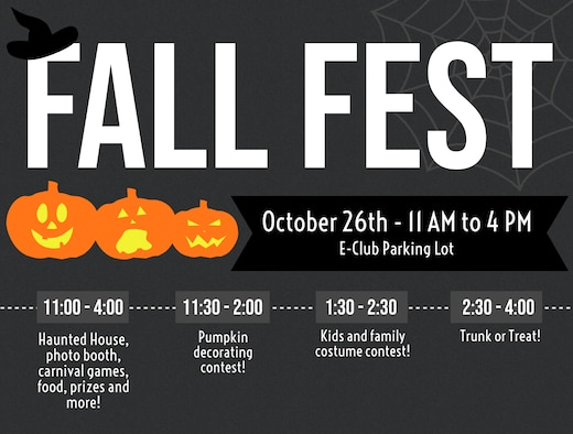 "A free, fall festival featuring a haunted house and ""trunk-or-treat"" is scheduled for 11 a.m. to 4 p.m. in the Enlisted Club parking lot Oct. 26, 2019. KMC families and kids are invited to dress up and partake in costume contests from 1:30 to 2:30 p.m. A pumpkin decorating contest is scheduled for 11:30 a.m. to 2 p.m."