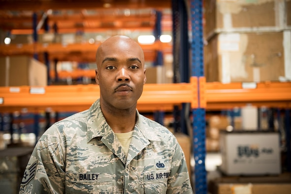 Staff Sgt. Richard Bailey, 39th Logistics Readiness Squadron central storage section, poses for a photo on Sept. 19, 2019, at Incirlik Air Base, Turkey. Bailey was recognized for his quick response time and life-saving efforts when a fellow Airman was choking. (U.S. Air Force photo by Staff Sgt. Ceaira Tinsley)