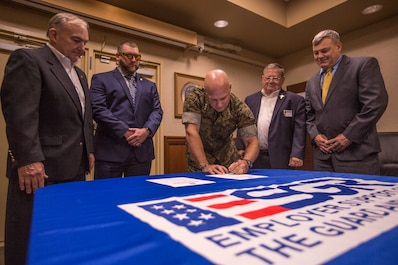 Lt. Gen. David G. Bellon signs ESGR Statement of Support