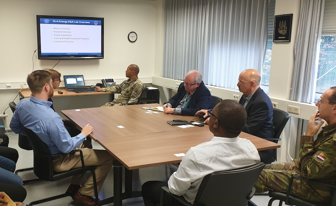 People discuss petroleum lab testing and procedures