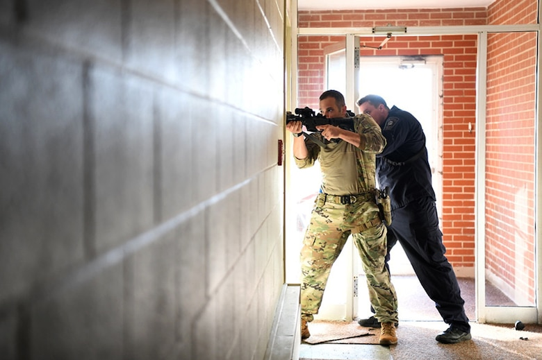 The Ohio Tactical Officers Association (OTOA) provided advanced team tactics training to members of local law enforcement, Oct. 22, 2019, at Springfield-Beckley Air National Guard Base in Springfield, Ohio. Facilities at the Ohio Air National Guard's 178th Wing provided a unique, cost-effective training environment for members of the Springfield Police Department SWAT and Clark County Narcotics Unit to strengthen their skills. (U.S. Air National Guard photo by Staff Sgt. Rachel Simones)