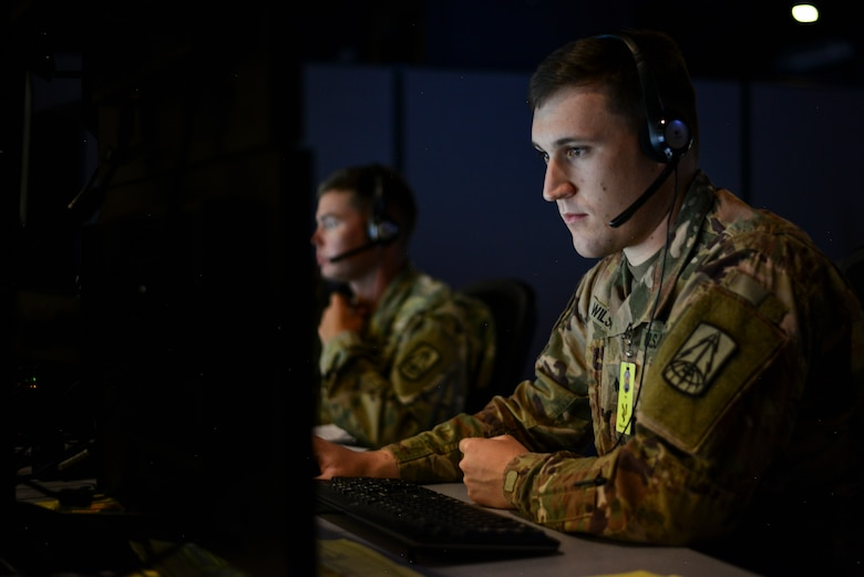 A member of the U.S. Army takes part in the Exercise Coalition VIRTUAL FLAG 19-4 at Kirtland Air Force Base, N.M., Sept. 10, 2019.  With the most participants ever hosted at the DMOC, the participants were presented with a contemporary multi-domain threat where exercise participants had to think through difficult problem sets, including several that the Chief of Staff of the Air Force has challenged the U.S. Air Force to address.  (U.S. Air Force photo by Staff Sgt. Kimberly Nagle)