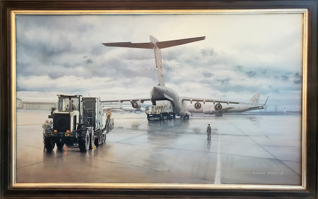 A painting of a C17 Globemaster being loaded by Airmen from the 49th Aerial Port Squadron at Grissom Air Reserve Base, Indiana was unveiled this fall at the 2019 IRT joint planning meeting for operational mission planners in Tysons Corner, Virginia. (U.S. Air Force painting by Senior Master Sgt. Darby Perrin)