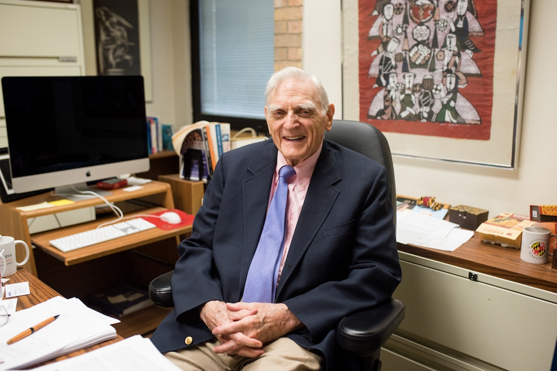 John Goodenough, who won the Nobel Prize in chemistry Oct. 9, 2019, sits at his desk at the University of Texas at Austin. (Courtesy photo/University of Texas at Austin)