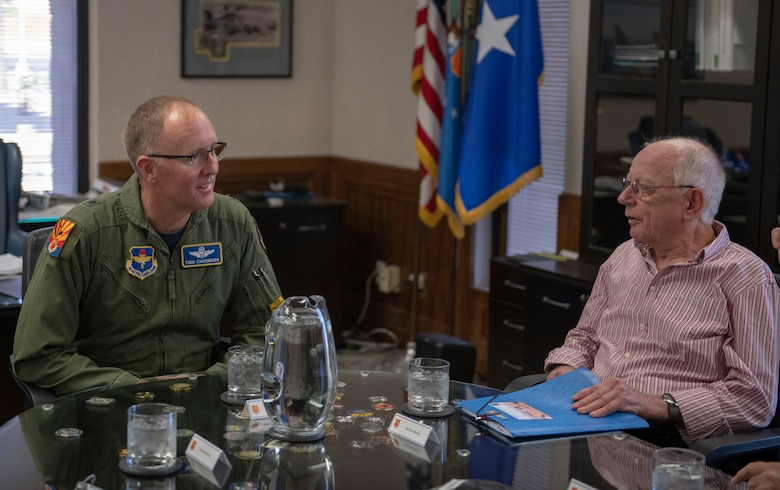 Brig. Gen. Todd D. Canterbury, 56th Fighter Wing commander, speaks to retired German air force Maj. Gen. Hans Juergen Merkle, former commander of the Cactus Starfighter Squadron, Oct. 18, 2019, at Luke Air Force Base, Ariz.