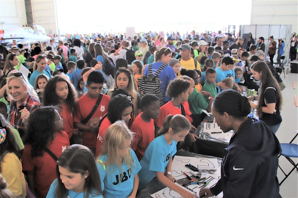 IMAGE: VIRGINIA BEACH, Va. (Sept. 20, 2019) – More than 7,000 fifth-graders from Chesapeake and Virginia Beach elementary schools participated in Naval Air Station Oceana's fourth annual Science, Technology, Engineering and Mathematics (STEM) Lab, breaking the Guinness World Record for the largest field trip on record. More than 30 scientists and engineers from Naval Surface Warfare Center Dahlgren Division (NSWCDD) Dam Neck Activity and NSWCDD volunteered their time and talents to educate the students through hands-on STEM displays.