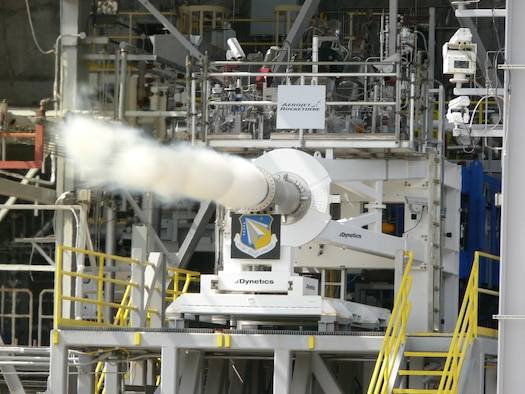 The Air Force Research Laboratory has successfully tested a state-of-the-art rocket engine preburner to elevate the U.S. technology base for high performance oxygen-rich staged combustion. The preburner was designed, developed, and tested under the AFRL Hydrocarbon Boost program with prime contractor Aerojet Rocketdyne, and supported by the Air Force Space and Missile Systems Center. Testing was conducted at NASA Stennis Space Center facilities. (Courtesy photo)