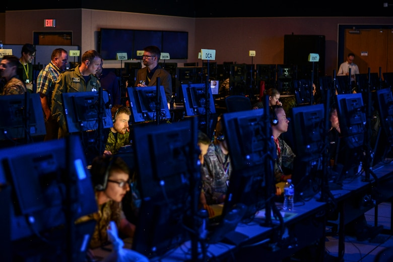 Participants from Exercise Coalition VIRTUAL FLAG 19-4 take part in the two-week exercise at Kirtland Air Force Base, N.M., Sept. 10, 2019. The exercise was set to train over 450 joint and coalition warfighters located at 23 sites and three different continents. (U.S. Air Force photo by Staff Sgt. Kimberly Nagle)