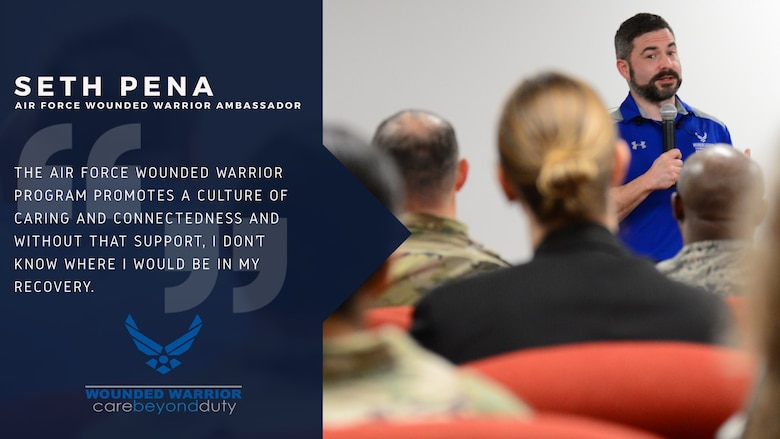 Staff Sgt. (ret) Seth Pena, an Air Force Wounded Warrior Program ambassador and former Tactical Air Control Party noncommissioned officer, speaks to Airmen and leaders about his involvement with the AFW2 program and the importance of connecting with one another at Joint Base San Antonio-Randolph, Texas, Oct. 18, 2019. In March of 2013, Pena was struck by a drunk driver on his motorcycle resulting in the amputation of his leg. (U.S. Air Force graphic by Chip Pons)