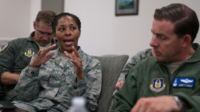 t. Col. Donna Smith, 413th Force Support Flight commander, gives remarks during a commanders and senior leaders conference Oct. 9, 2019, at Robins Air Force Base, Georgia.