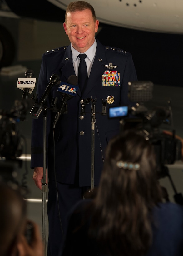 Newly appointed Commander of Air Force Reserve Command, Lt. Gen. Richard W. Scobee is interviewed by local news affiliates after his assumption-of-command ceremony at the Museum of Aviation, Warner Robins, Georgia, Sept. 27, 2018. (U.S. Air Force photo by Master Sgt. Stephen D. Schester)