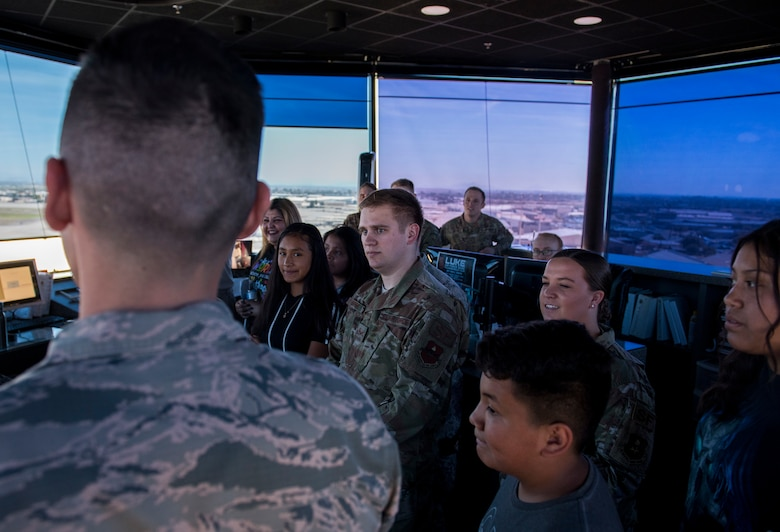 Air traffic controllers from the 56th Operations Support Squadron give a tour of the air traffic control tower during the Childhelp Kids Day of Hope tour Oct. 16, 2019, at Luke Air Force Base, Ariz.